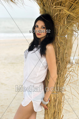 Attractive Young Brunette On A Beach Near The Palm Tree Stock Photo
