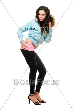Attractive Young Brunette In A Black Leggings. Stock Photo