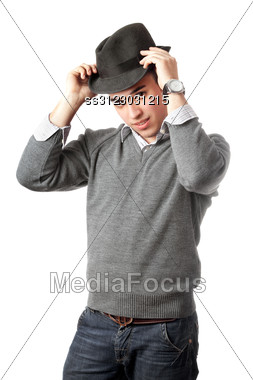 Attractive Young Man Wearing Black Hat. Stock Photo