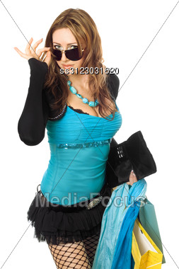 Attractive Young Woman After Shopping. Stock Photo