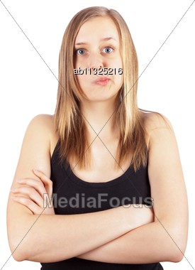 Attractive young woman facing some problems. Stock Photo
