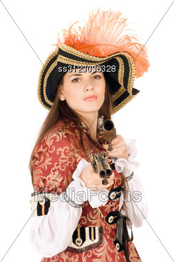 Attractive Young Woman With Guns Dressed As Pirates Stock Photo