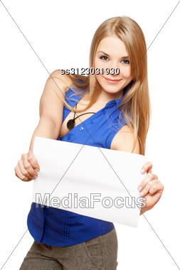 Attractive Young Woman Holding Empty White Board. Stock Photo