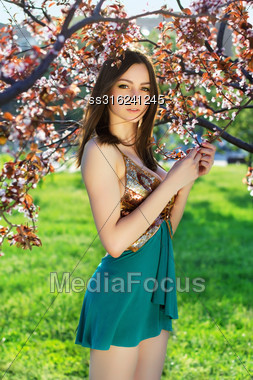 Attractive Young Woman Wearing Frank Dress Posing In The Garden Stock Photo