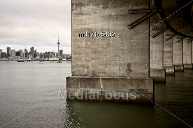 Auckland New Zealand City View Harbour Bridge Stock Photo