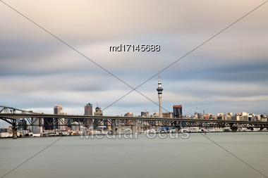 Auckland New Zealand City View Harbour Bridge Stock Photo