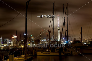 Auckland New Zealand City View Night Photo Tower Stock Photo