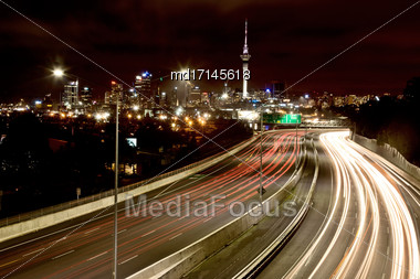 Auckland New Zealand City View Night Photography Stock Photo
