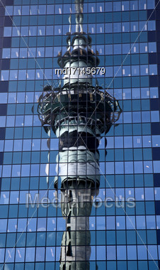 Auckland New Zealand City View Tower Reflection Stock Photo