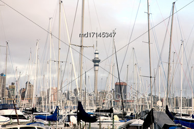 Auckland New Zealand City View Urban Downtown Stock Photo