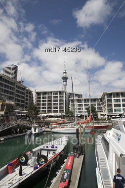 Auckland New Zealand Harbor Front Downtown City Stock Photo