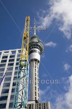 Auckland New Zealand Sky City Tower Downtown Stock Photo