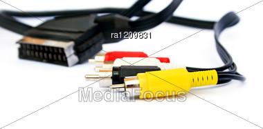 Audio And Video Jacks And Plug Stock Photo