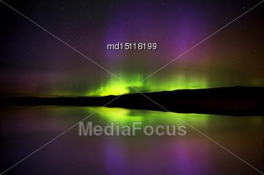 Aurora Borealis Northern Lights Saskatchewan Lake Stock Photo