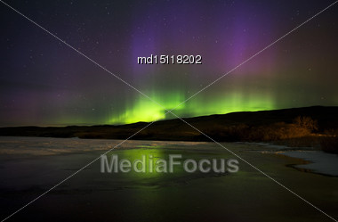 Aurora Borealis Northern Lights Saskatchewan Lake Stock Photo
