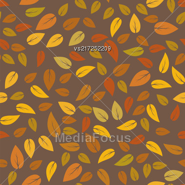 Autumn Floral Texture Isolated On Brown Background. Seamless Different Leaves Pattern Stock Photo