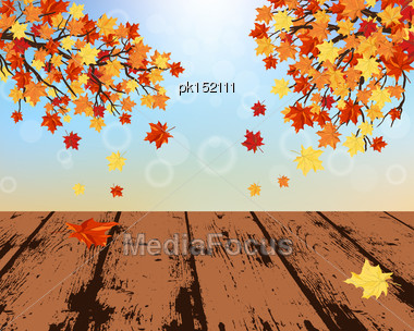 Autumn Frame With Maple Leaves And Grunge Wooden Table In Perspective Stock Photo