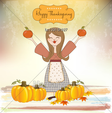 Autumn Girl With Apples And Pumpkins Stock Photo