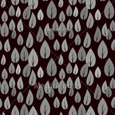 Autumn Grey Leaves Isolated On Black Background. Seamless Different Leaves Pattern Stock Photo