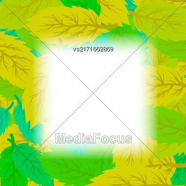 Autumn Leaves Background. Set Of Yellow And Green Leaves. Leaves Frame Stock Photo