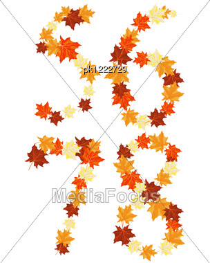 Autumn Maples Leaves Letter Set. Vector Illustration. Stock Photo