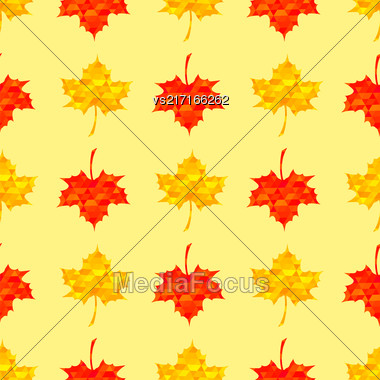 Autumn Red Leaves Isolated On Yellow Background. Seamless Maple Pattern Stock Photo