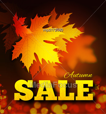 Autumn Sale Background With Leaf Texture On The Letters And Bokeh. Vector Illustration Stock Photo