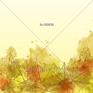 Autumn Watercolor Background With Leaves, Vector Format Stock Photo