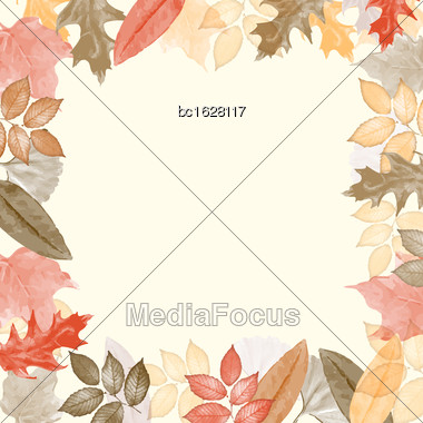 Autumn Watercolor Frame With Leaves. Vector Illustration Stock Photo