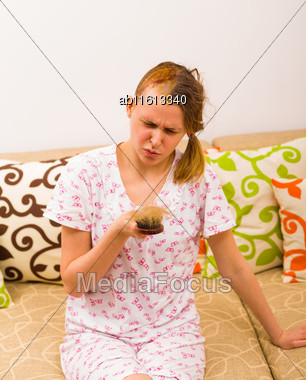 Awakeing Woman After Combing Being Displeased Because Of Serious Hair Loss Stock Photo