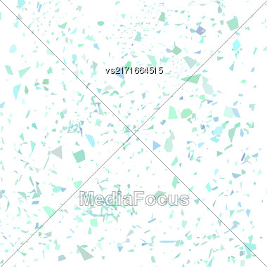Azure Confetti Isolated On White Background. Set Of Particles Stock Photo