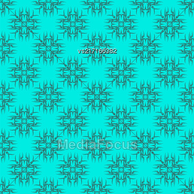 Azure Ornamental Seamless Line Pattern. Endless Texture. Oriental Geometric Ornament Stock Photo