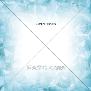 Azure Polygonal Background. Azure Crystal Triangle Pattern Stock Photo