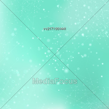 Azure Technology Background With Particle, Molecule Structure. Genetic And Chemical Compounds. Communication Concept. Space And Constellations Stock Photo