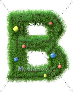 B Letter Made Of Christmas Tree Branches Stock Photo