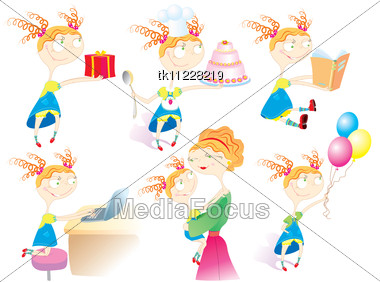 Babby's Life.Cartoon Girl In Different Situations Stock Photo