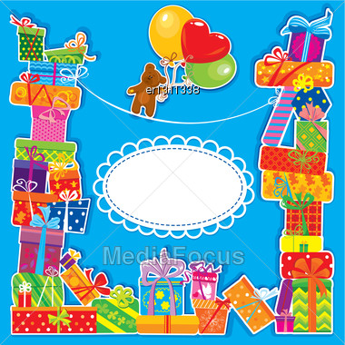 Baby Birthday Card With Teddy Bear And Gift Boxes For Boy Stock Photo