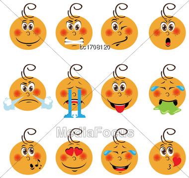 Baby Boy Emojis Set Of Emoticons Icons Isolated. Vector Illustration On White Background Stock Photo