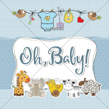 Baby Boy Shower Card With Animals, Vector Format Stock Photo