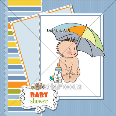 Baby Boy Shower Card With Funny Baby Under His Umbrella Stock Photo