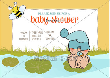 Baby Boy Shower Card With Funny Little Baby, Vector Illustration Stock Photo