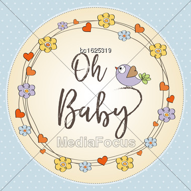 Baby Boy Shower Card , Vector Format Stock Photo