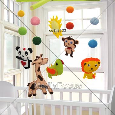 Baby Crib Mobile Stock Photo