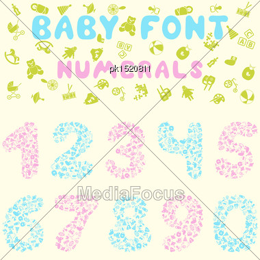 Baby Font Design. Eps 10 Vector Illustration Without Transparency Stock Photo