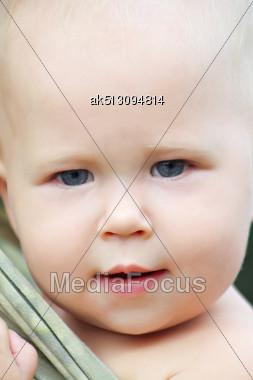 Baby Girl Face, Close Up Stock Photo