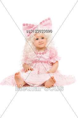 Baby Girl In A Pink Dress. Stock Photo