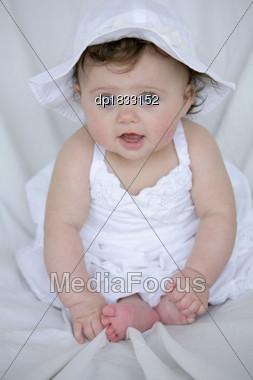 Stock Photo Baby Girl In White Dress Hat - Image DP1833152 - Baby ...