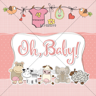 Baby Girl Shower Card With Animals, Vector Format Stock Photo