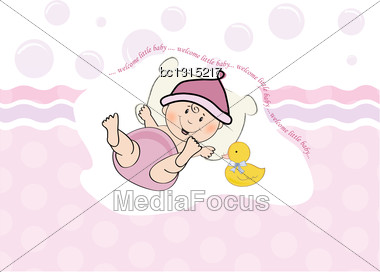 Baby Girl Shower Card, Illustration In Vector Format Stock Photo