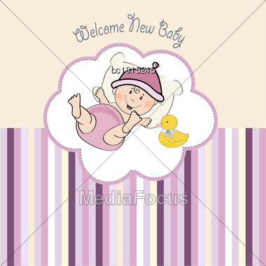 Baby Girl Shower Card, Illustration In Vector Format Stock Photo